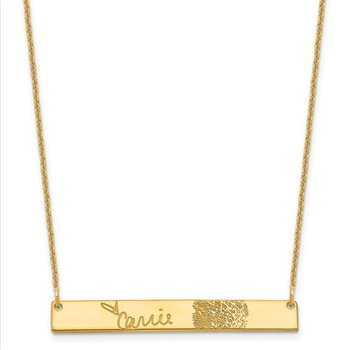 "14k Gold Personalized 38.4x5.3mm Bar Signature and Fingerprint 18""x1mm Chain Necklace"