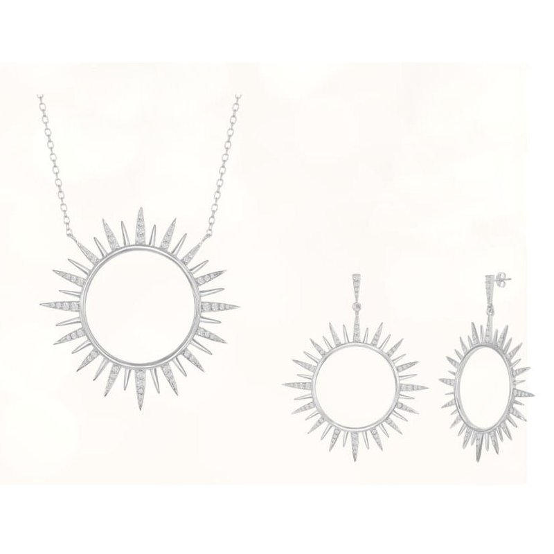 Fashion Jewelry Collection Sterling Silver CZ Sun Pendant & Earrings Set