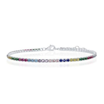 "- Sterling Silver Multi-Color Rainbow Round CZ Tennis Bracelet - 6.50"""