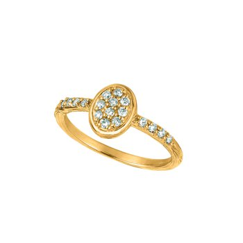 14K Gold 0.28ctw. Diamond Oval Accented Engagement Promise Ring
