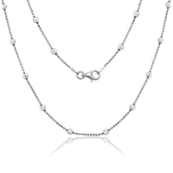 - Sterling Silver Diamond Cut Oval Moon Bead Chain Necklace