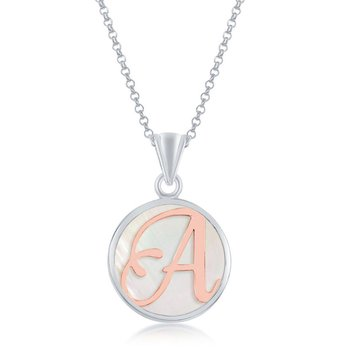 """Sterling Silver Rose Script Letter Initial on Mother-of-Pearl Circle Pendant with 18"""" Chain Necklace"""
