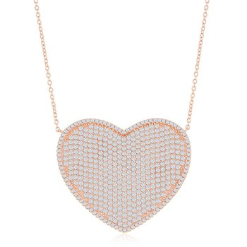 Sterling Silver Micro Pave CZ Heart Chain Necklace