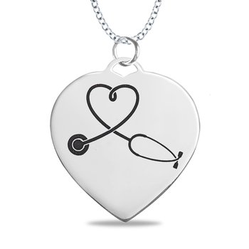 - Sterling Silver 25x27mm Photo Artwork Heart Engravable Customized Picture Pendant