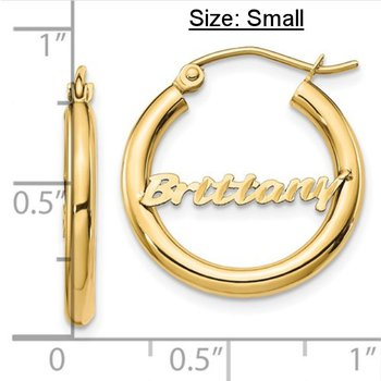 14k Yellow Gold Personalized Name Polished Tube Hoop Earrings