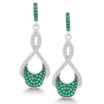 - Sterling Silver Micro Pave Set White and Green CZ Open Twist Infinity Earring Pair