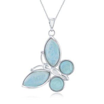 - Caribbean Treasures Sterling Silver Larimar Gemstones Butterfly Pendant