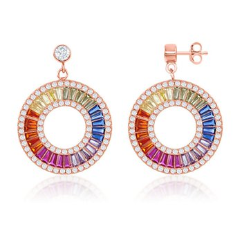 - Sterling Silver Rose Gold Plated Multi-Color Rainbow Baguette CZ and White CZ Circle Dangle Drop Earring Pair