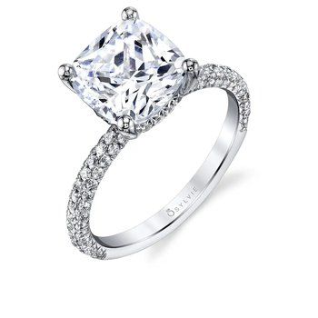 - Classic Solitaire Hidden Halo Diamond Pave Accented Semi-Mount Engagement Ring