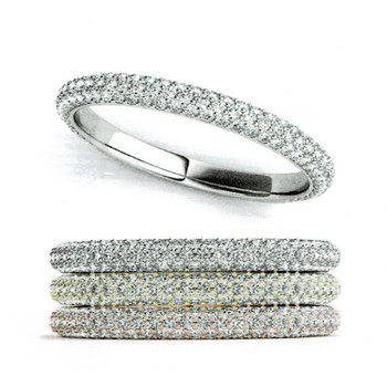 Diamond Pave Anniversary Wedding Stackable Ring Band