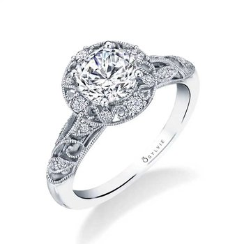 - One-of-a-kind Vintage-Inspired Round-Shaped Halo Diamond Accented Semi-Mount Engagement Ring & Wedding Band Set