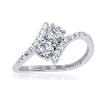 Sterling Silver 2-Stone Round Accented Bypass Promise EngagementRing