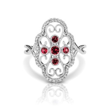 - 1/6ctw. Diamonds & 1/5ctw. Ruby Round Gemstones 14k Gold Vintage-Inspired Right Hand Ring