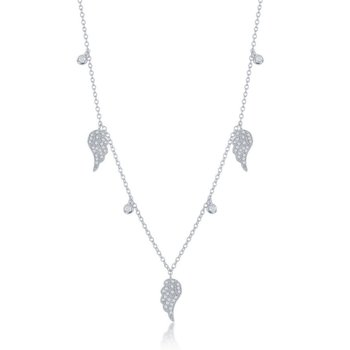 Sterling Silver Alternating Angel Wings and Bezel-Set CZ Station Necklace