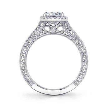 - Vintage Halo Round-Shaped Diamond Accented Semi-Mount Engagement Ring