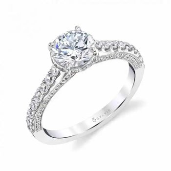 - Hidden Halo Round-Shaped Diamond Accented Semi-Mount Engagement Ring
