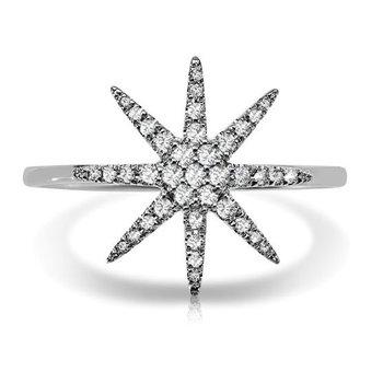 - 1/6ct. Diamond 14k White Gold Starburst Ring