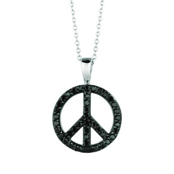 14K Gold 0.34ctw. Diamond Peace Sign Pendant Chain Necklace