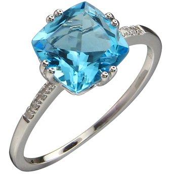 - 14k White Gold Diamond and 2.39Ct. Swiss Blue Topaz Gemstone Cocktail Ring