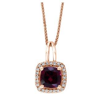 - 14k Rose Gold 0.09Ctw. Diamond Halo and 1.21Ct. Garnet Gemstone Fancy Chain Pendant