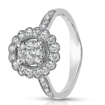- 1/2ct. Diamond 14k Gold Halo Cluster Cocktail Right Hand Promise Ring