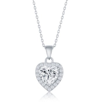 Sterling Silver Heart and Round CZ Pendant