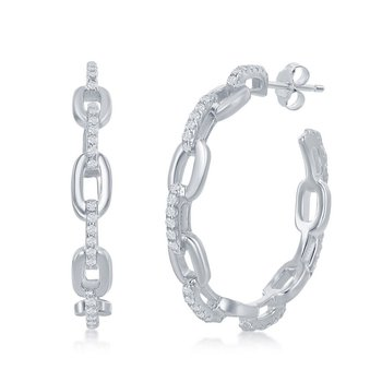 Sterling Silver Paper Clip Style with CZ Stones 32mm Open Hoop Earrings Pair