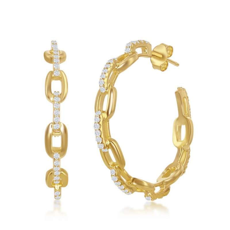 Fashion Jewelry Collection Sterling Silver Paper Clip Style with CZ Stones 32mm Open Hoop Earrings Pair