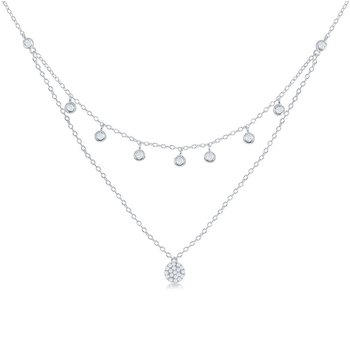 Sterling Silver Double Strand Bezel-set CZ with Micro Pave Disc Chain Necklace