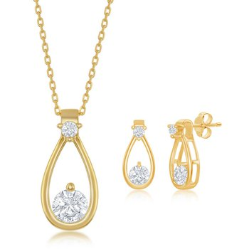 Sterling Silver Round CZ Pear-Shaped Pendant and Earrings Set
