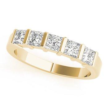 - Diamond 5-Stone Princess Anniversary Wedding Band