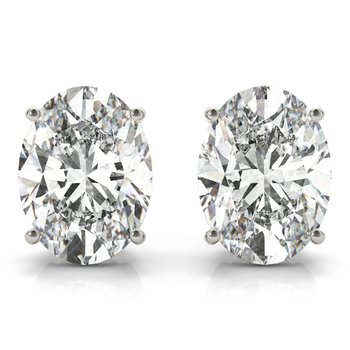Natural Diamond OR Lab-Grown Diamond Oval Stud Earrings Pair