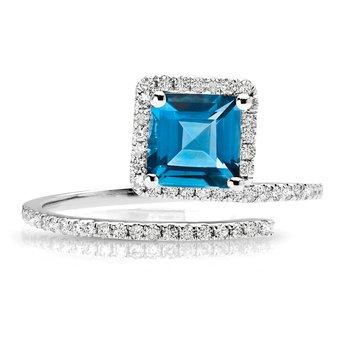 - 1/4ct. Diamond & Light Blue Topaz Gemstone 14k White Gold Right Hand Ring
