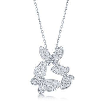 Sterling Silver Micro Pave Set CZ Butterfly Chain Necklace