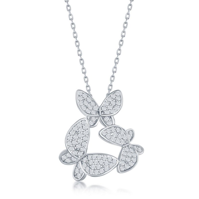 Fashion Jewelry Collection Sterling Silver Micro Pave Set CZ Butterfly Chain Necklace