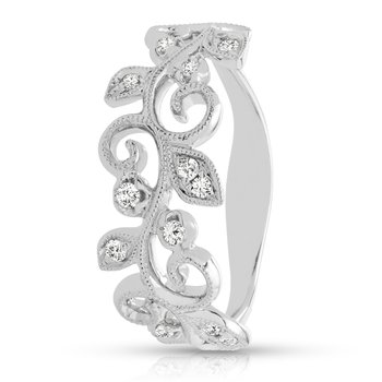 - 1/8ct. Diamond 14k Gold Leaf Pattern Right Hand Band Ring