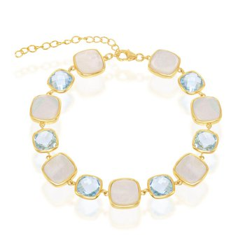 """- Simona Sterling Silver 14k Yellow Gold Plated Alternating Blue Topaz and Mother-of-Pearl Square Bracelet - 7.25"""""""