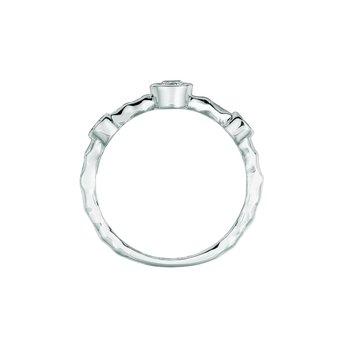 14K Gold 0.25ctw. Diamond 3-Stone Bezel-Set Stackable Anniversary Engagement Wedding Band Ring