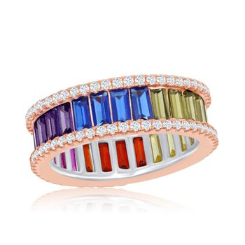 - Sterling Silver 14k Rose Gold Plated Multi-Color Rainbow Baguette CZ and White CZ Band Ring