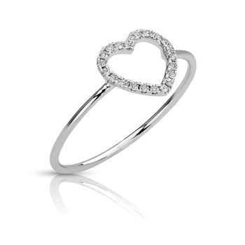 - 1/10ct. Diamond 14k Gold Heart Right Hand Ring