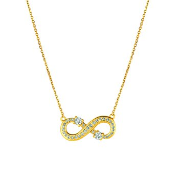 14k Gold 0.50ctw. Diamond 2-Stone Accented Infinity Chain Necklace