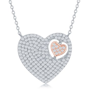 Sterling Silver Two-Tone 14k Rose Gold Plated Heart in Heart CZ Chain Necklace
