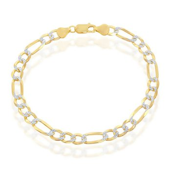 - Sterling Silver 14k Yellow Gold Plated 7mm Pave Figaro Chain Bracelet / Necklace for Men