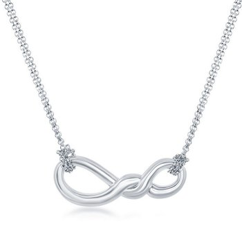 - Sterling Silver Infinity Knot Pendant Double Strand Chain Necklace - 17""