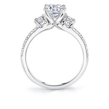 - Three-Stone Round-Shaped Center Diamond Accented Semi-Mount Engagement Ring