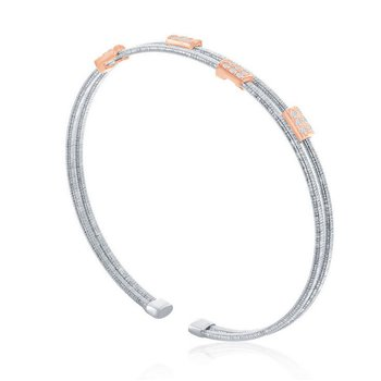 - Italian Collection CZ Stones Sterling Silver w/14k Rose Gold Plated Rectangles Double Wire Bangle Cuff Bracelet