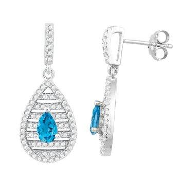 - Bellissima Sterling Silver 0.98ctw. Pear Swiss Blue Topaz Gemstones and 1.04ctw. White Topaz Gemstones Earring Pair