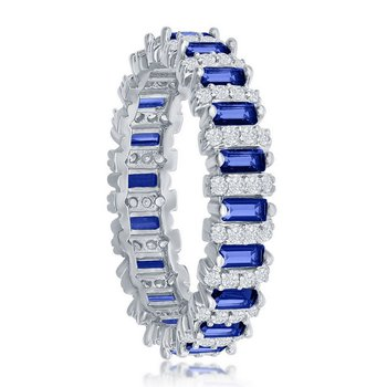 Sterling Silver White CZ Round and Blue CZ Emerald-Cut Eternity Band Ring