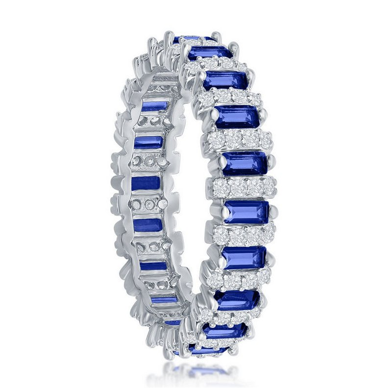 Fashion Jewelry Collection Sterling Silver White CZ Round and Blue CZ Emerald-Cut Eternity Band Ring