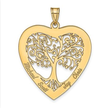 14k Gold Personalized 33x31mm Heart Four Names Family Tree Pendant